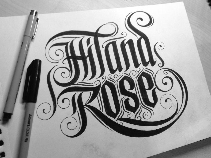 Calligraphy for hiland rose a fellow deviantartist by