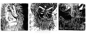 Three woodcut prints