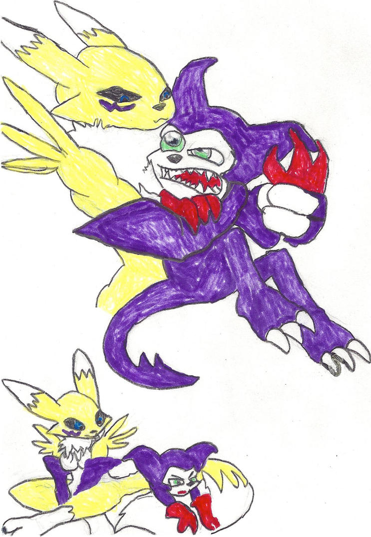 aslan1 impmon and renamon outlined by classof2012 on