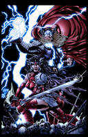 Thor and Sif colored by wrathofkhan
