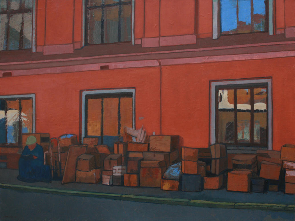 Man with cardboard boxes by IT-Hammar