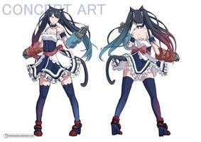Concept Art - Brawling Neko Maid