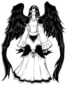Woman with black wings