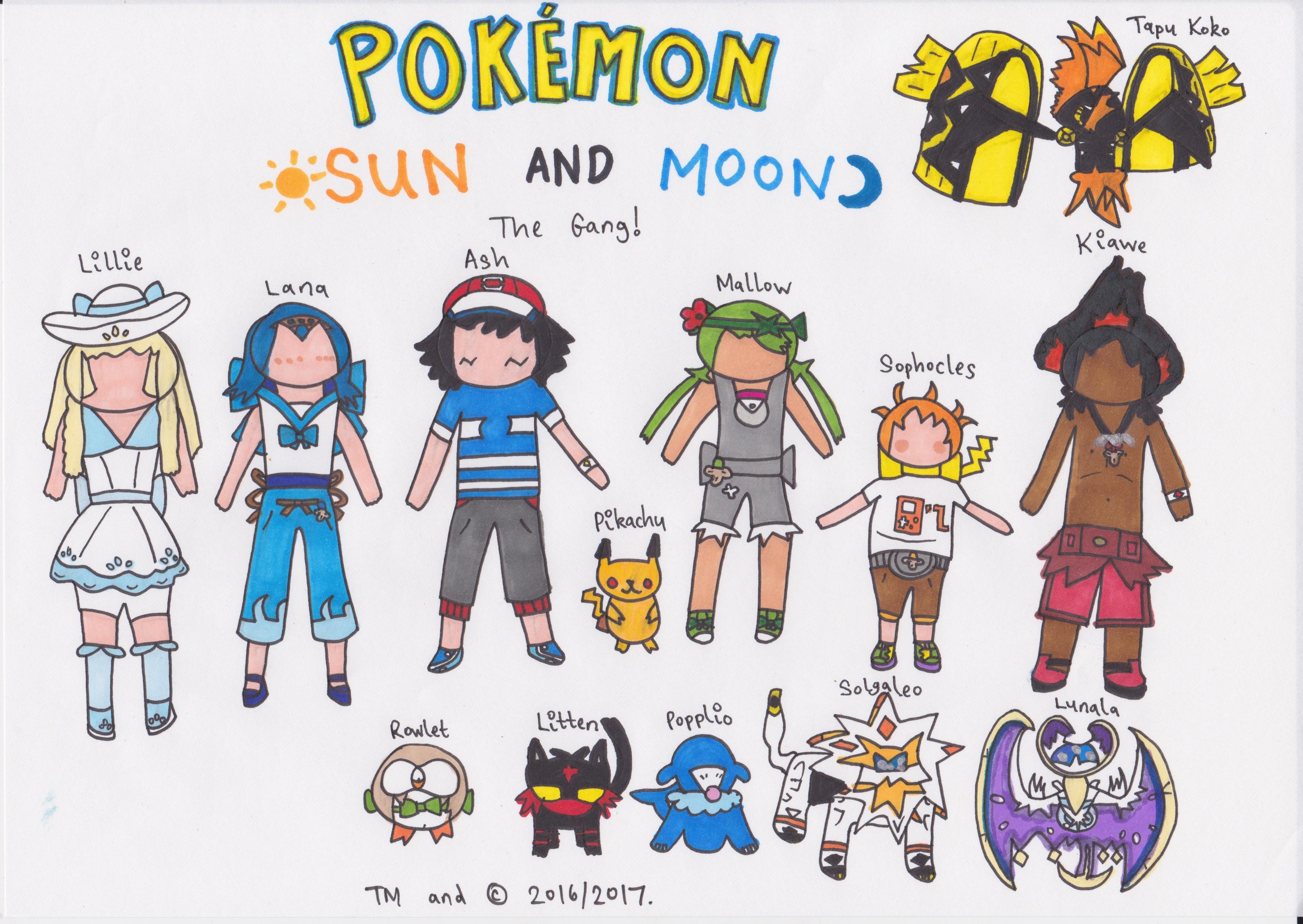Pokemon Sun + Moon - The Gang by SurfingTheSeaWorld on DeviantArt