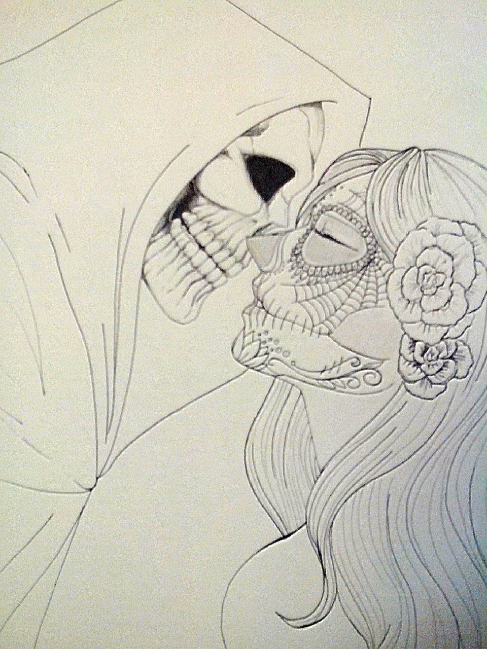 how to draw a sugar skull girl