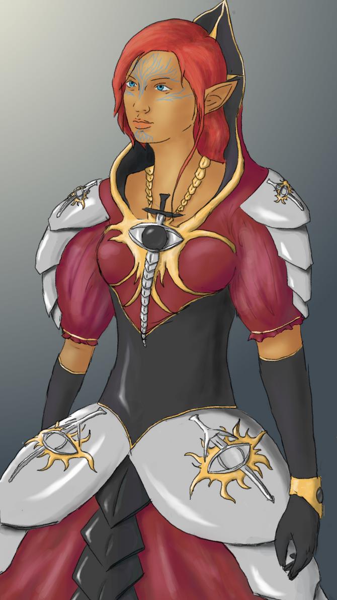 Inquisitor Lavellan in alternate Formal attire by Erynnsilver