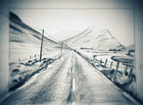 Irish country road sketch