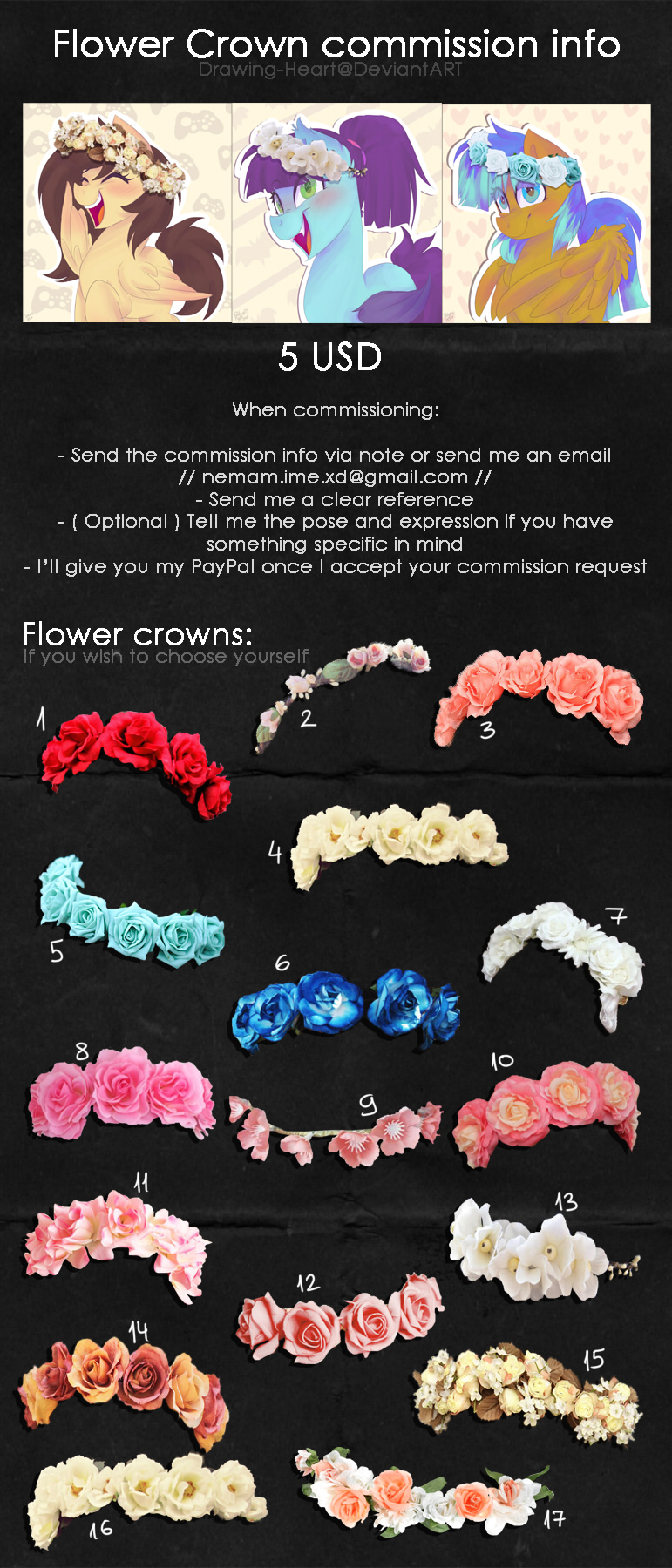 Flower Crown Commission Info By Drawing Heart On Deviantart
