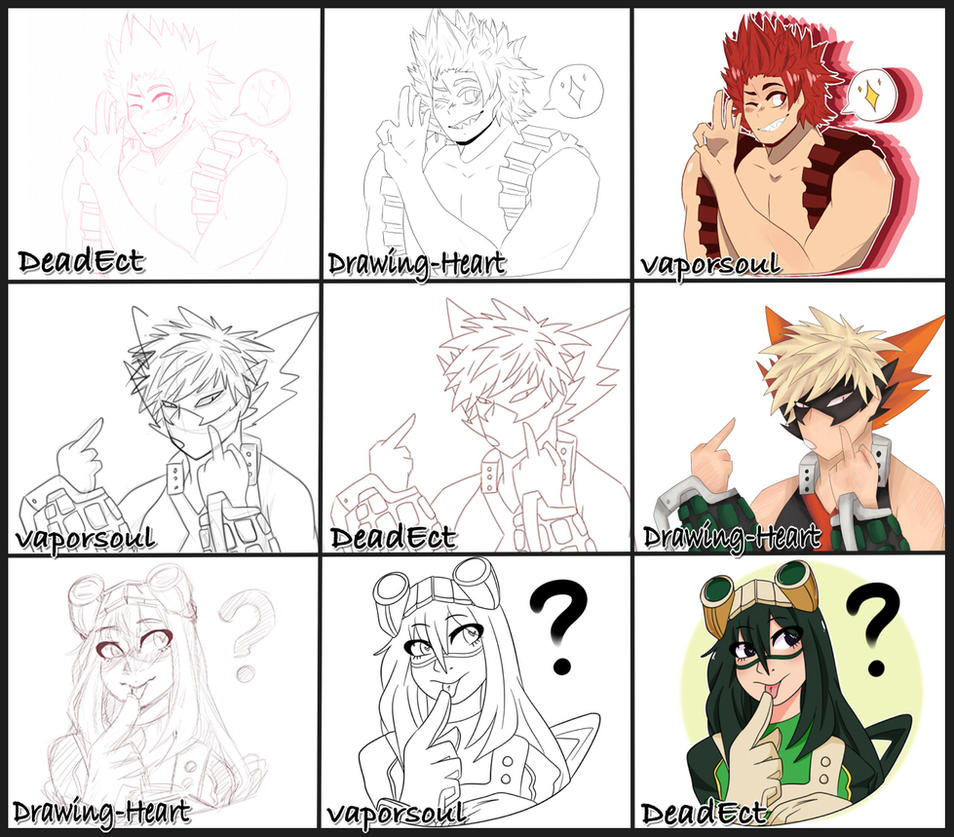 BNHA Collab Meme By DrawingHeart On DeviantArt - Hairstyle drawing meme