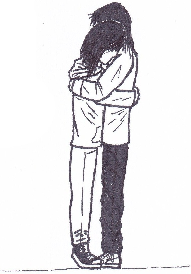 Hugging Couple Drawing Hugging  by NinjaFailure