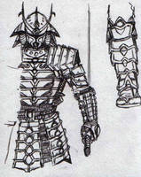 Samurai Droid 1st sketch by mohzart