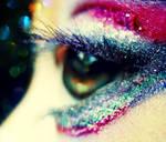 Rainbow blurry eyes.