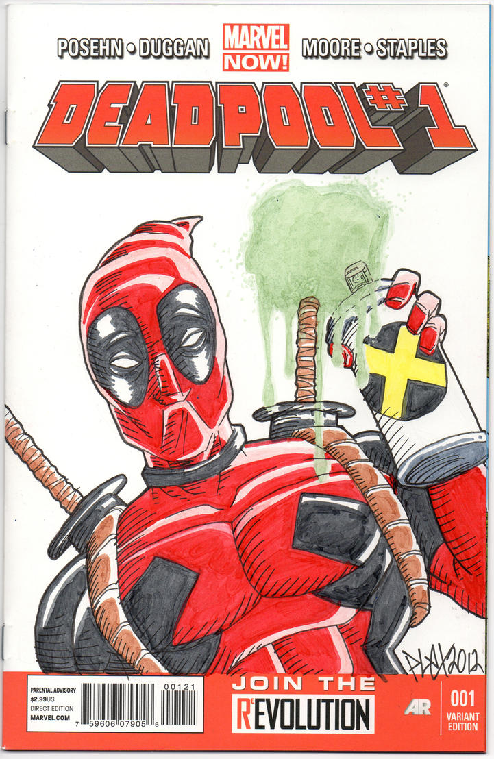Deadpool 1 Sketch Cover by MarshallPlex