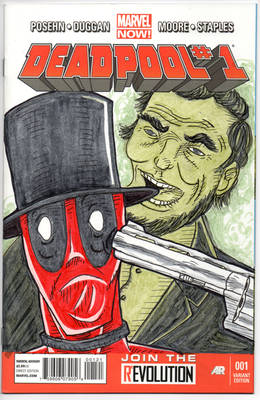 Deadpool 1 Abe Lincoln Sketch Cover