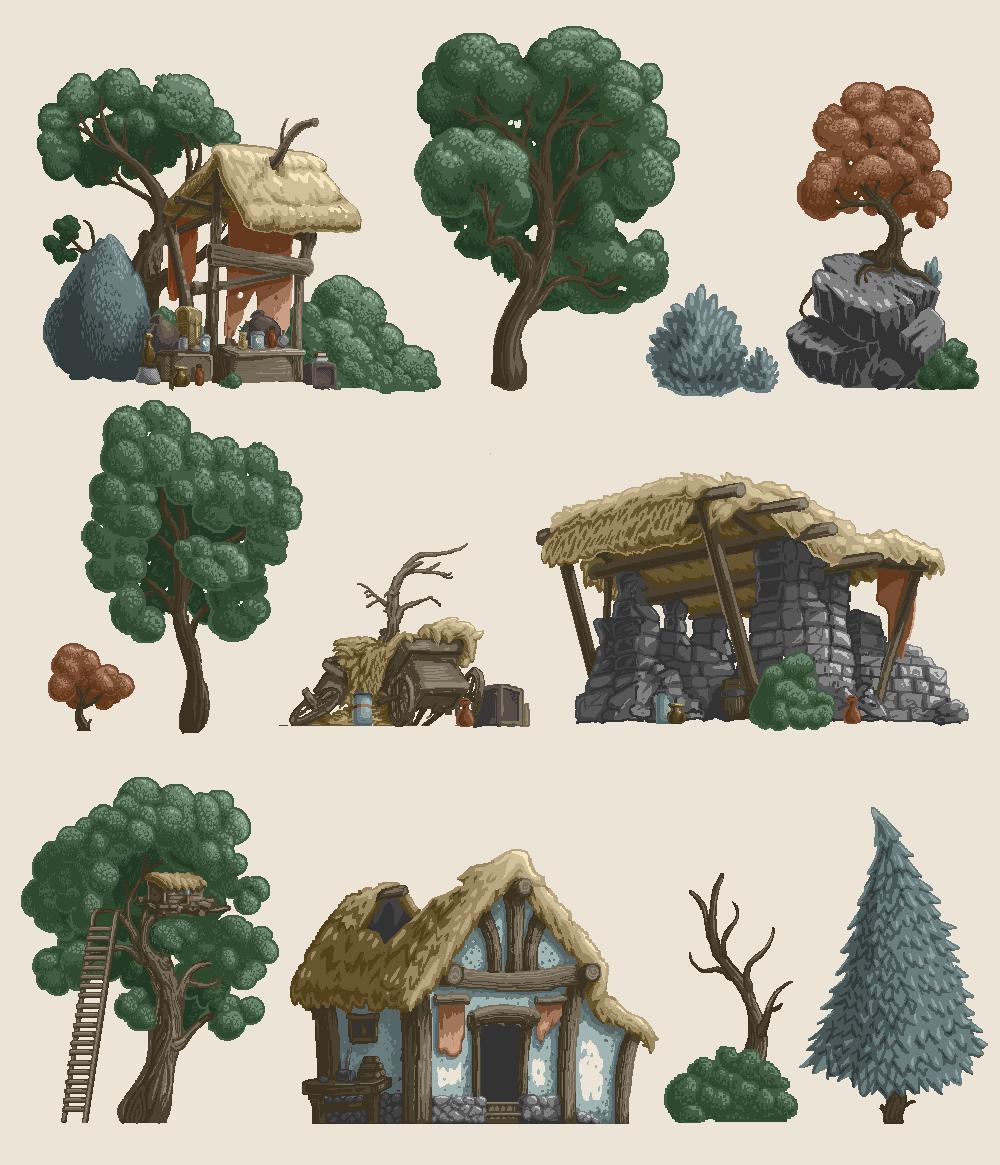 Woodlands Side-scroller Assets by Joudrey