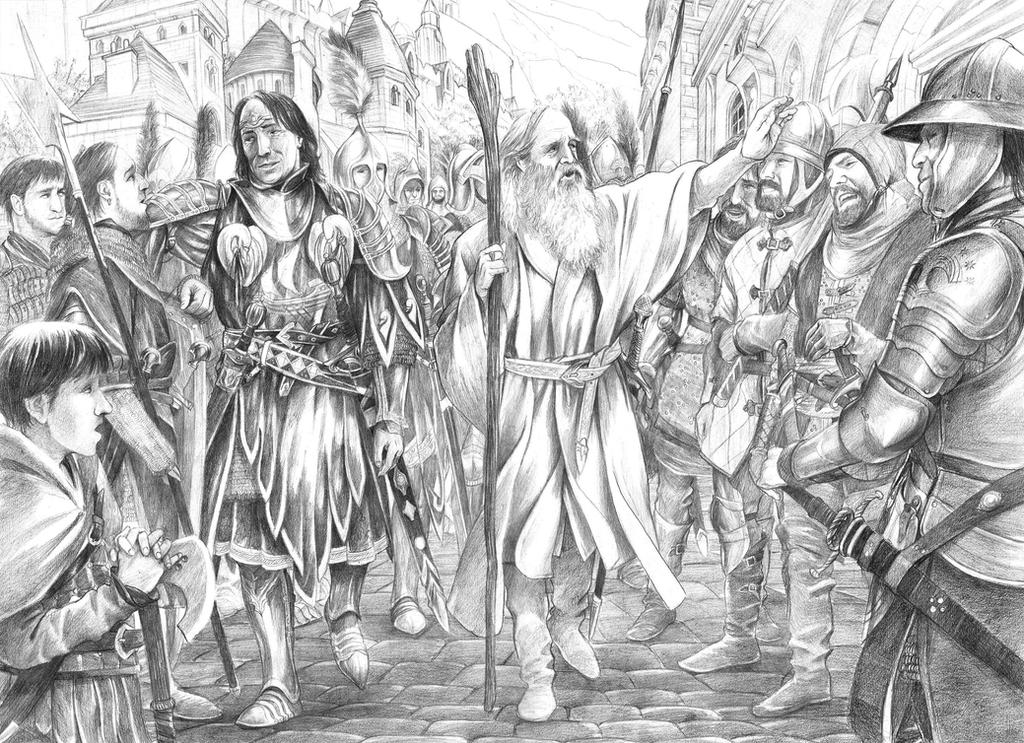 Mithrandir and Imrahil kindling the fires of hope by AbePapakhian