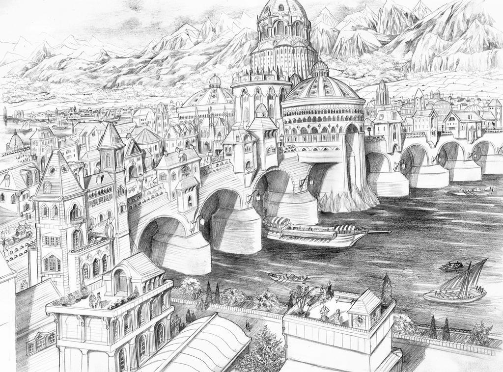Os Cristais de Valfenda - Uma Fábula da Terra-Média  Osgiliath_by_abepapakhian-d6whlwg
