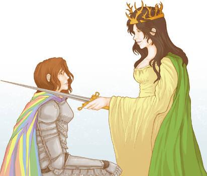 Genderbent: Queen Renly and her Knight Loras