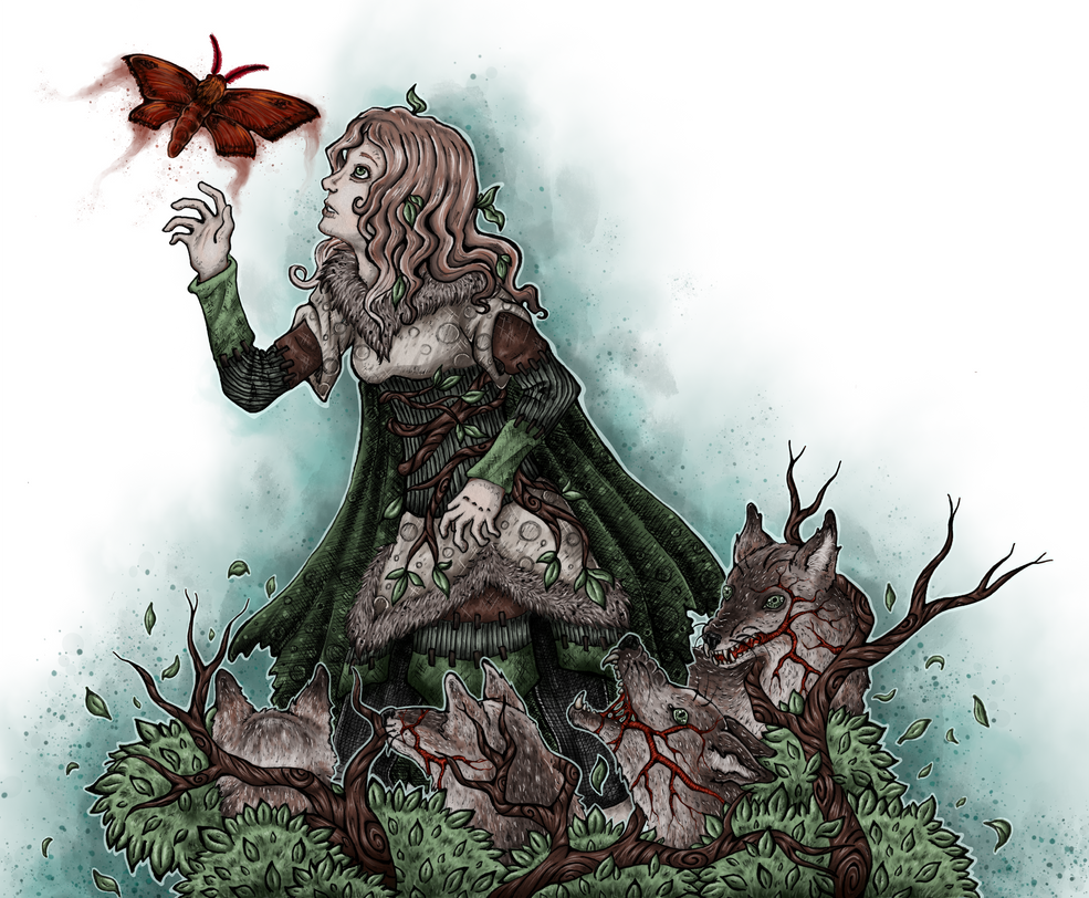 Wolf Blut Falter farbig/ wolf girl blood moth