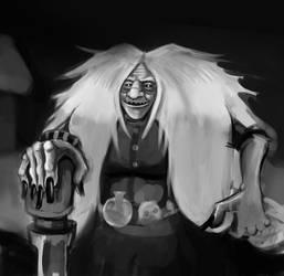 Baba Yaga or Grandmother Yaga by Girooza