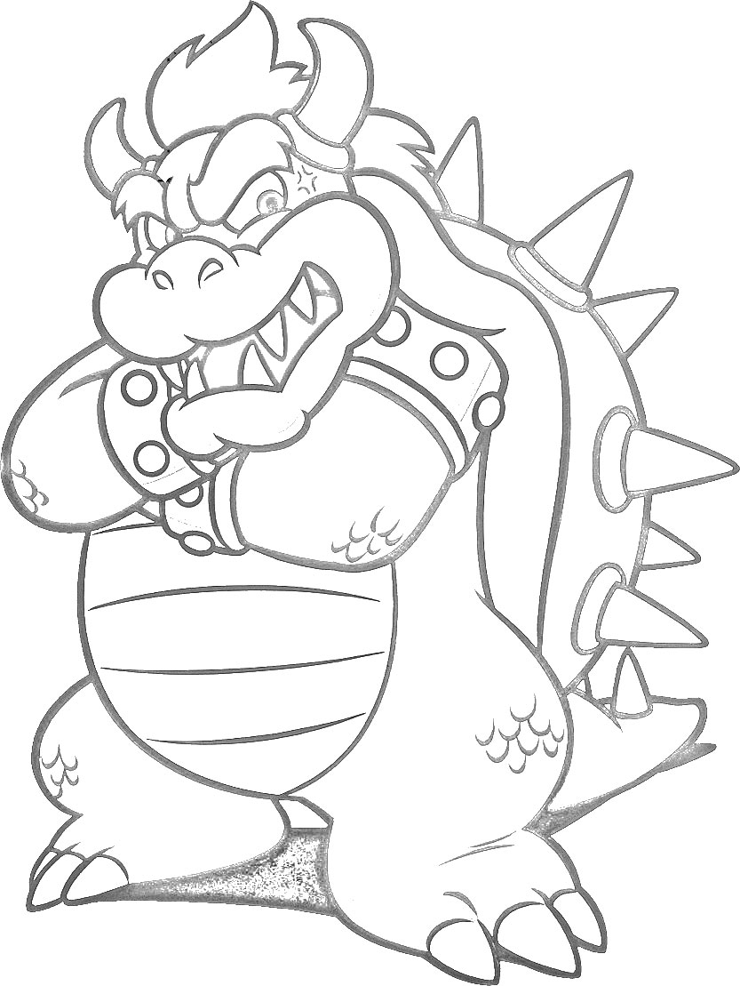 bowser super mario world lineart by disneylouis - Super Mario Bowser Coloring Pages