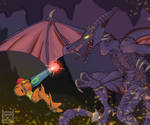 Samus and Ridley by Drakenknight