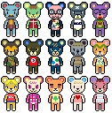 Animal Crossing Bears Sprites by RaspberryFanta