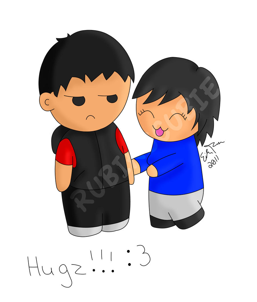 Chibi Hug by rubikscubie on deviantART