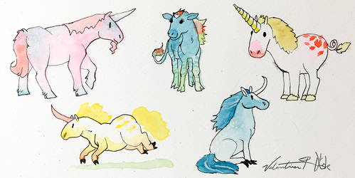 Watercolor Wednesday 2 - Unicorns