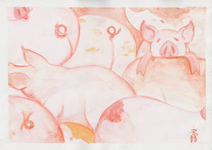 Watercolor Wednesday 3 - Pigs