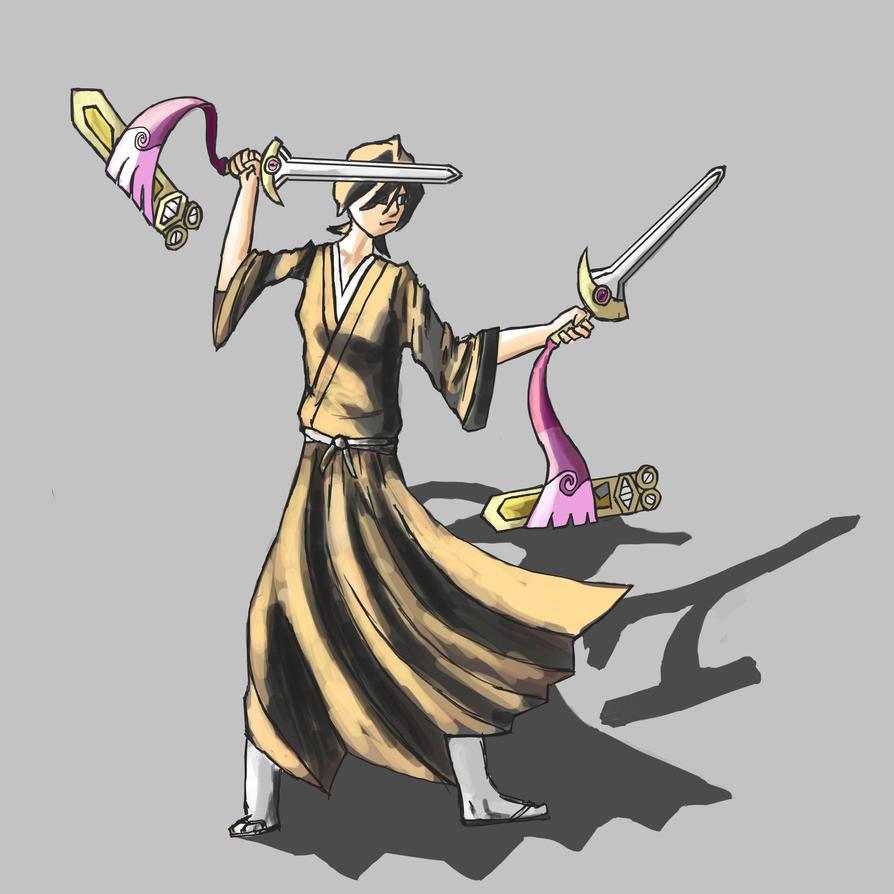 Rukia wielding Doublade by MCocktail24