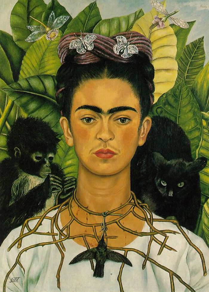 تابلو نقاشی، فریدا و گردنبندی از خار