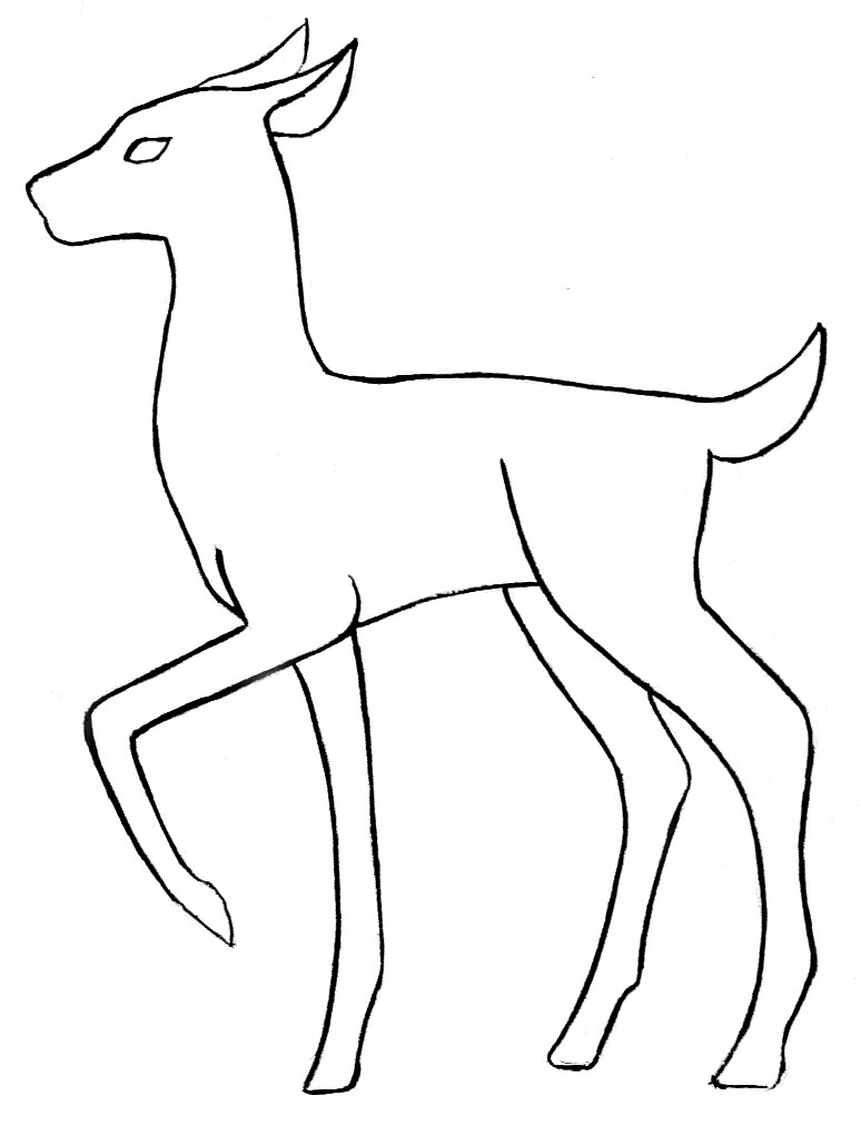 Line Drawings Of Animals Deer : Deer base outline by skandranon on deviantart