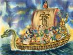 Seven Lucky Gods of Japan by T5ukuyomi