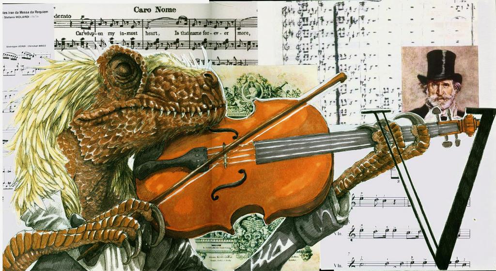 Velociraptor Violinist by eoghankerrigan