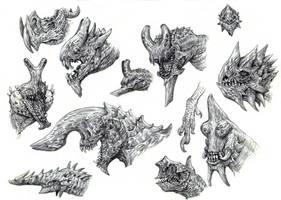 Kaiju Heads by eoghankerrigan