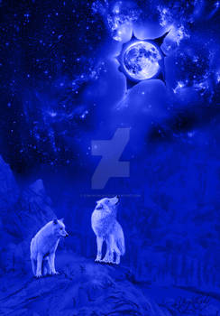 moon and wolf in blue