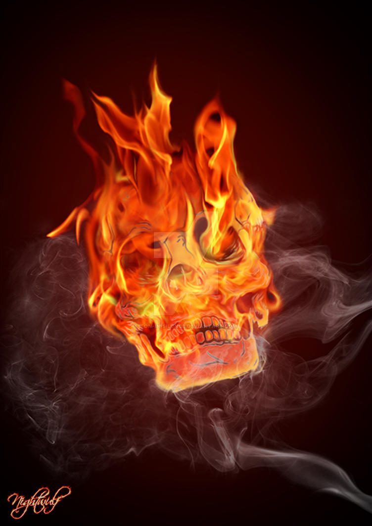 Burning Skull by Tom-in-Silence