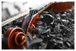 Violin In a sea of grey
