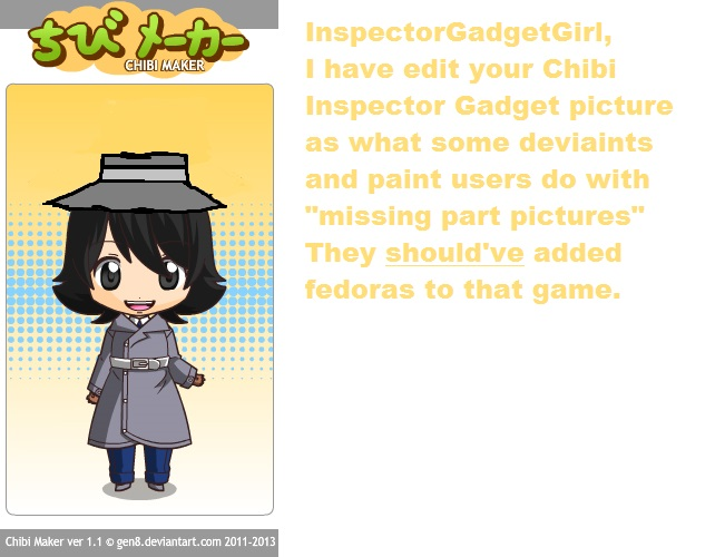 Chibi Inspector Gadget Plus Fedora by OffClaireBlue2001
