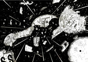 Space Battle, inked comic page