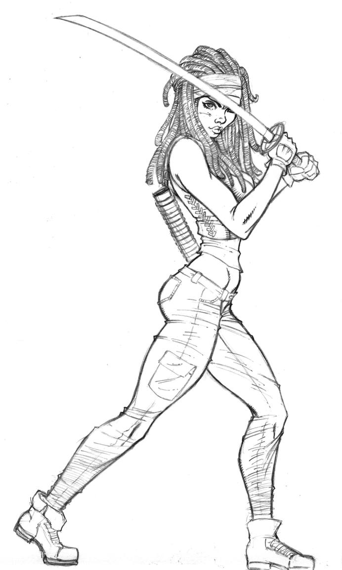 Michonne Pencils by broken-nib