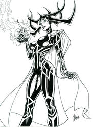 Hela Final Inked Pinup by broken-nib