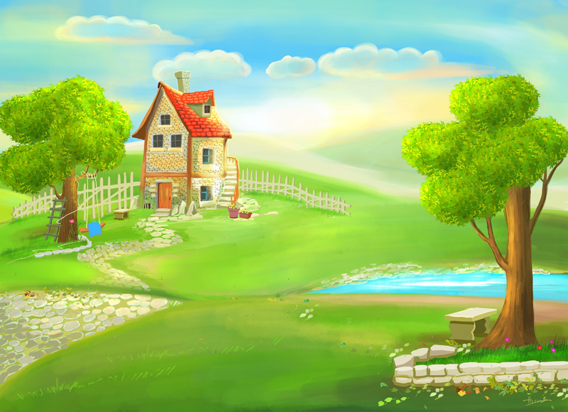Cartoon house painting by eydii on deviantart for 3d wallpaper for dream home
