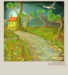 story book landscape illustration