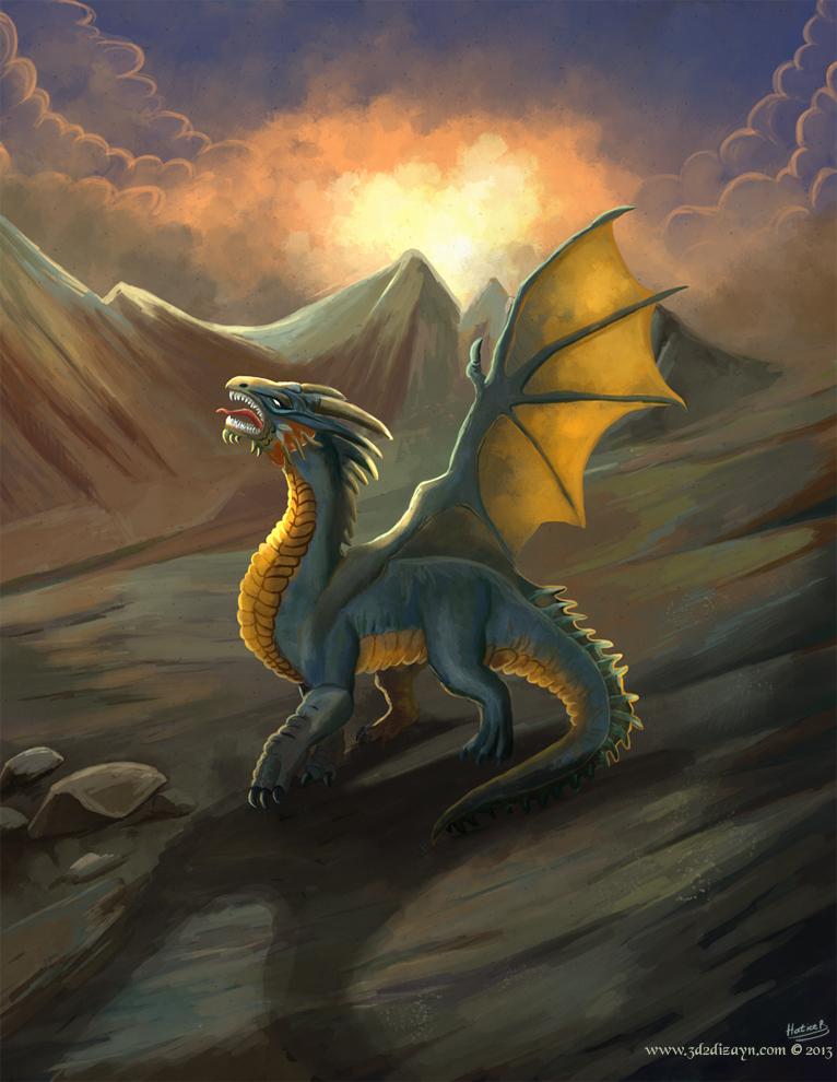 Dragon Landscape illustration for my gallery3 by eydii