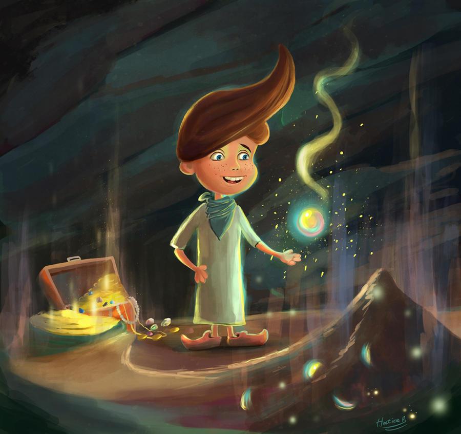 Painting Treasure cave Storybook Illlustration by eydii