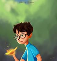 Harry Potter portrait cartoon by eydii