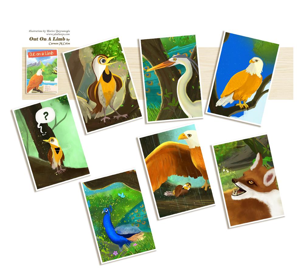 story book cartoon talking birds by eydii