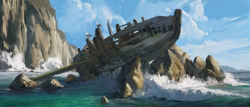 crashed boat by MrFloki
